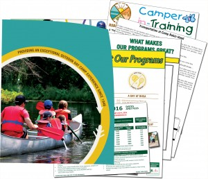 A picture of the Camp Robin Hood information package that will be mailed to you after completing the details required