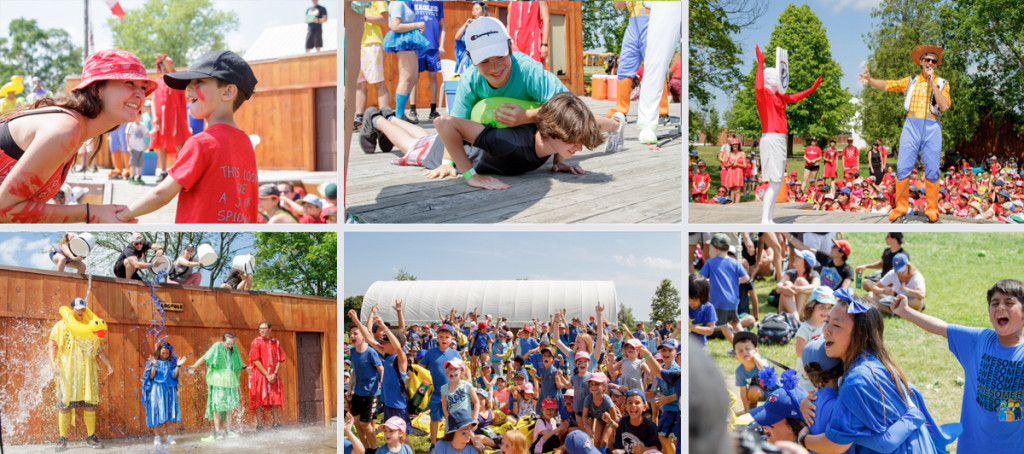 Snapshots of campers and staff participating in a mass colour wars event on the flagpole stage