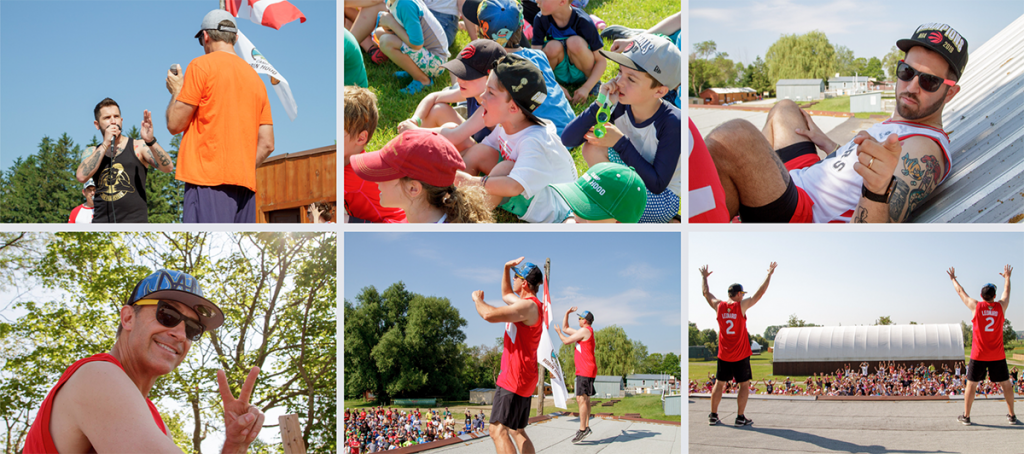 Snapshots of campers and staff dancing on flagpole as they reveal the 2019 camp dance