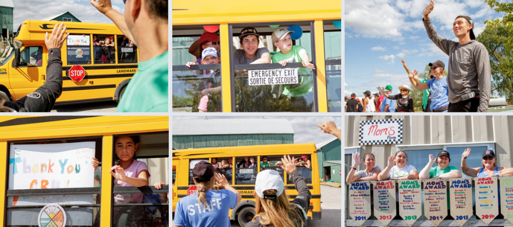 Snapshots of emotional campers on the last day of camp, waving goodbye from the buses
