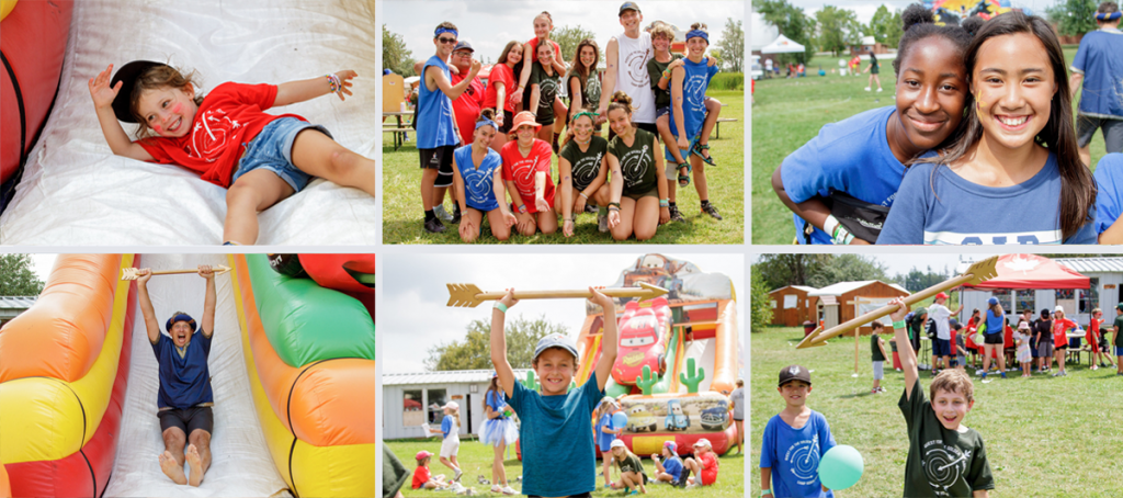 Snapshots of campers and staff enjoying the quest for the golden arrow carnival