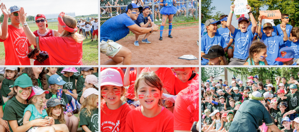 Snapshots of campers and staff participating in a mass event on the baseball diamond for the golden arrow carnival